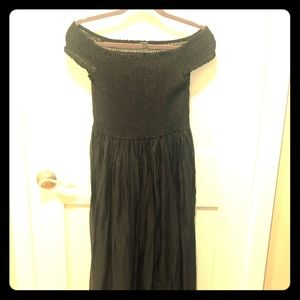 J.Crew off the shoulder black sheer cotton dress